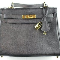 Designer Handbags- This is Hermes Style Hand Bag Kelly 28 Gold Hardware Black Togo Leather. Made in France! Guaranteed!