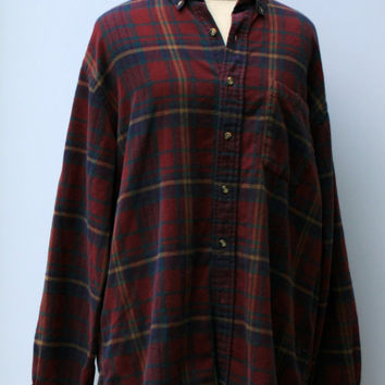 Vintage Men Flannel Shirt Comfy cotton man woman shirt burgundy blue plaid grunge hipster 90s L Large button down shirt Hipster BoHo flanel