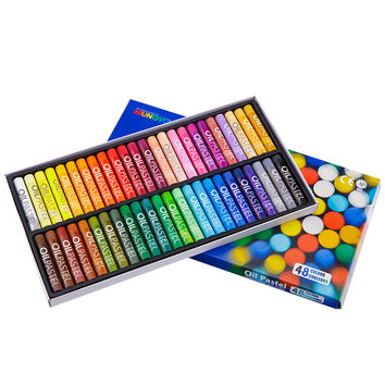 48 Colors Set Round Shape 70*11 mm Oil Pastel for Artist Students Drawing Pen School Stationery Art Supplies