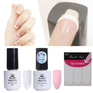 BORN PRETTY Colored Avaliable UV Nail Gel Polish Set Pink White with Tip Guides Gel Polish French Manicure Set Cured by UV Lamp