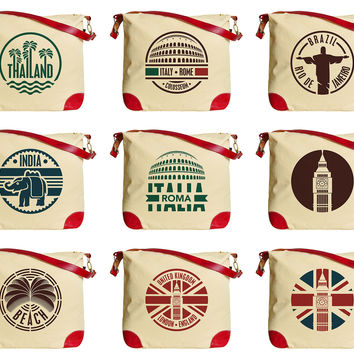 Travel Stickers Set Print Canvas Leather Trap Tote Shoulder Bag WAS_33