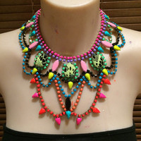 BETTER THAN BINNS neon, pastel and black hand painted rhinestone statement bib necklace