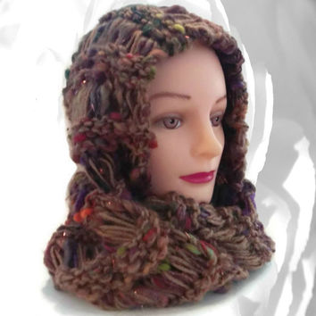 Brown Scarf, Infinity Cowl, Infinity Scarf, Circle Scarf, Sequin Cowl, Fuzzy Cowl, Red Cowl, Green Cowl, Purple Cowl, Silver Cowl, Knit