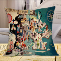 Neverland Peter Pan Collage on Square Pillow Cover