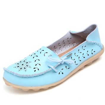 2018 Women's Casual Genuine Leather Shoes Woman Loafers Slip-On Female Flats Moccasins Ladies Driving Shoe  Mother Footwear