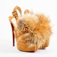 DCCK2 Christian Louboutin Tan Suede   Splash   Fox Fur Slingback Pumps