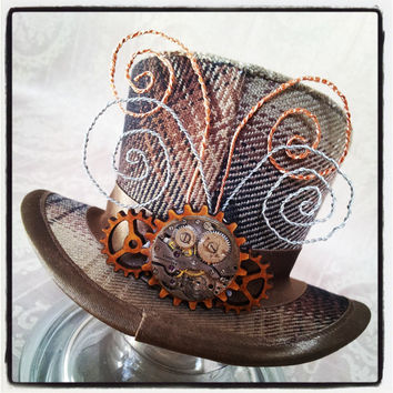 Mad Hatter, Alice in Wonderland, Steampunk Hat, Mini Top Hat, Tea Party, Sherlock, Gothic Hat, Lolita, Cosplay, Women Steampunk Hats