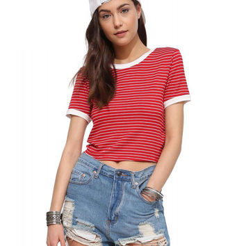 Striped Color Block Short Sleeve Cropped T-shirt