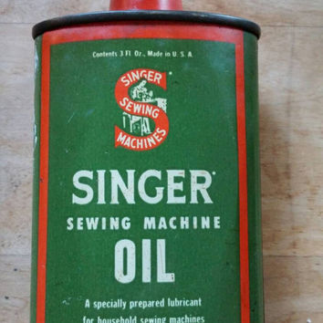 Collectible Tin - Vintage Tin - Vintage Singer Sewing Machine Oil Tin - Green Tin - Vintage Oil Tin