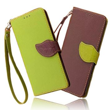 Leaf PU Leather Case for iPhone 6 Case 6s 7 Plus 5 5s SE 4s 4 s Cover Coque Funda Flip Wallet Case for iPhone6 Phone Bag