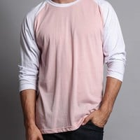 Men's Baseball T-Shirt (Dirty Pink/White)