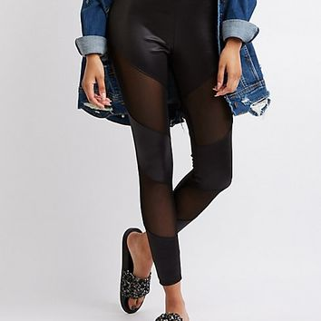 Faux Leather & Mesh Panel Leggings | Charlotte Russe