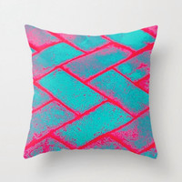 Neon Brick Decorative Pillow, Funky modern designer Throw Cushion, 16x16 18 x 18 20 x 20 Pillow, Pink, Bricks style, graffiti art pillow