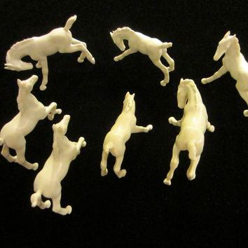 Mo Germany Equestrian Seven White Porcelain Horses Marked Stamped