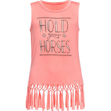 Full Tilt Hold Your Horses Girls Fringe Tank Coral  In Sizes