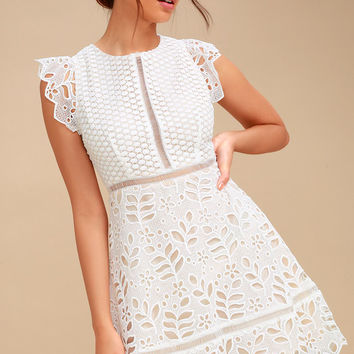 Ariane White Lace Skater Dress