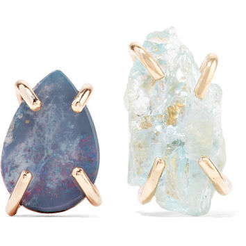 Melissa Joy Manning - 14-karat gold, opal and aquamarine earrings