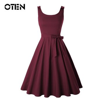 OTEN Plus size 4XL Clothing Women Summer Sleeveless O Neck Bow Sexy Backless Rockabilly Pin up Skater Swing Casual Party dress