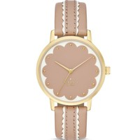 kate spade new york Round Vachetta Leather Strap Scalloped Dial Metro Watch, 34mm | Bloomingdales's