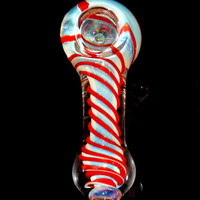 Color Changing Micro Mini Glass Spoon Bowl Smoking Pipe - Thick 40g Piece Silver Fumed Inside Out Red Spirals