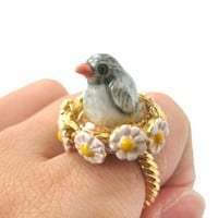 Baby Penguin Bird Shaped Ceramic Porcelain Animal Ring with Daisy Textured Border | Limited Edition