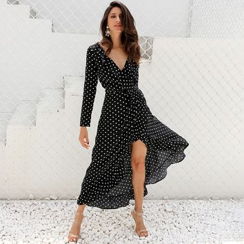 Simplee long sleeve polka dot ruffle wrap dress Women sexy v neck split maxi dress Summer beach black long dress