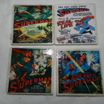 Superhero Superman Movie Tile Coasters Handmade