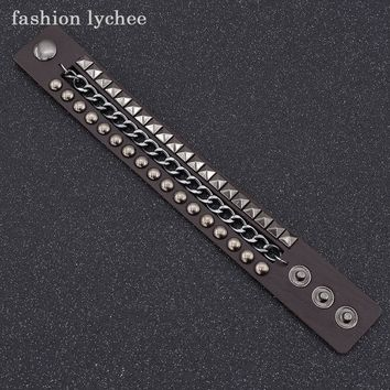 fashion lychee Metal Rivet artificial Leather Double Wrap Bracelets Wrapped Studded Bracelets Colorful Charm Chain