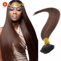 "Grade AAAAAAA Keratin Hair Extensions ON Capsules 18""20""22""24"" 0.5g/S 100% Real Human Hair Extensions Keratin Stick I Tip"