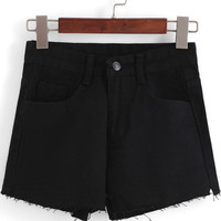 Black Pockets Slit Denim Shorts
