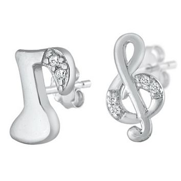 .925 Sterling Silver Musical Notes Mismatched CZ Ladies and Kids Stud Earrings