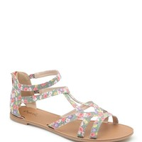 Qupid Floral Strappy Sandals - Womens Sandals - Multi -