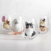 Party Cats Painted Stemless Wine Glass Set