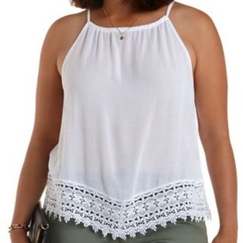 Plus Size White Crochet-Trim Swing Tank Top by Charlotte Russe