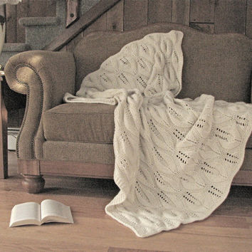 Chunky Knit Alpaca Baby Camel Blend Blanket / Afghan / Throw - off White Ivory - Free Shipping in US