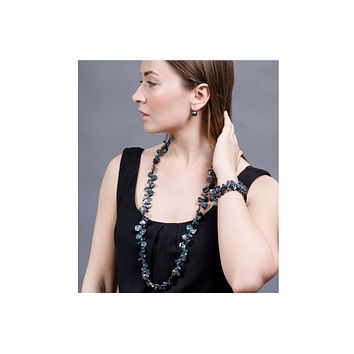 Blue Freshwater Keshi Pearl and Crystal Long Necklace and Bracelet Set