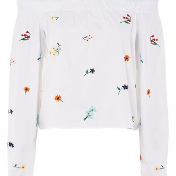 Topshop Embroidered Poplin Off the Shoulder Top | Nordstrom