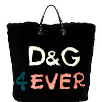 Dolce & Gabbana Beatrice DG 4 Ever Fur Tote Bag, Black/Multi