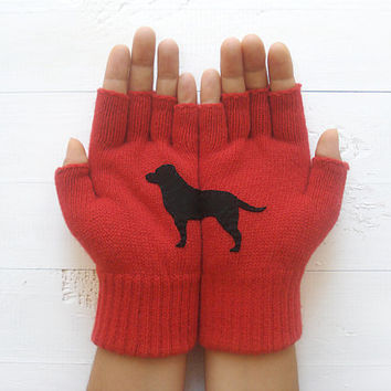 Christmas Gift, Dog Gloves, Labrador Gloves, Fingerless Gloves, Red Gloves, Black Dog, Special Gift, Animal Lovers, Pets, Dogs, Xmas Gift