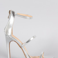 Liliana Metallic Triple Straps Single Sole Heel