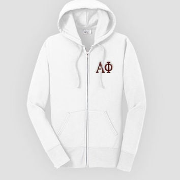 Alpha Phi Fitted Embroidered Classic Zip Up Hoody, Alpha Phi Zip up hooded sweatshirt, Greek Apparel, Sorority Letter Sweatshirt,