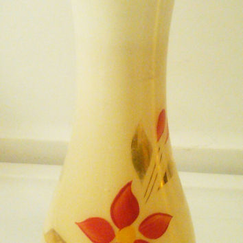 "Vintage Hand Blown Milk Glass Vase with scalloped rim & Hand painted floral design, 9"" x 2"" Vase, Red Flower, Gold Leaves"