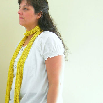 Knit Skinny Scarf in Dandelion Intense Citrus by WindyCityKnits