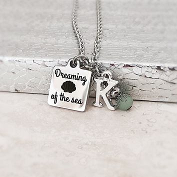 Stainless Steel Necklace - Dreaming of the Sea - Beach Jewelry - Sea Glass Jewelry - Personalized Initial Jewelry - Ocean Theme Jewelry