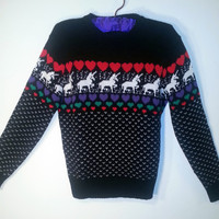 VINTAGE 1980's UNICORN Print Sweater.