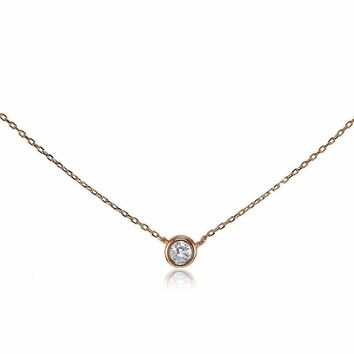 Rose Gold Tone over Sterling Silver CZ Bezel-Set Solitaire Choker Necklace