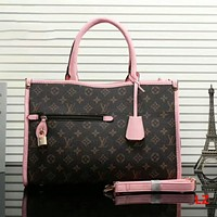 LV Women Shopping Leather Tote Handbag Shoulder Bag Pink I-LLBPFSH