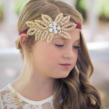Vivian Wine & Gold Crystal Jewel Headband