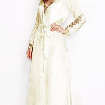 Stella Ivory Satin Charmeuse Robe w/Lace Trim (Small-3X)