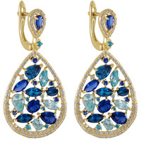 Gold Plated Sterling Silver Teardrop Earrings With White CZ And Synthetic Blue Sapphire